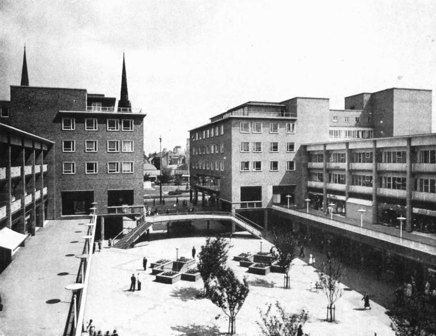 The upper precinct, c. 1954 (source: Coventry and Warwickshire Collection, Coventry Libraries and Information Service).